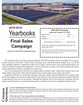 Final Day to Order 2018-2019 Yearbooks